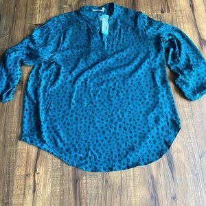 Lush warren spilt neck blouse XL dark green
